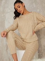 Rib Knitted Lounge Set in Beige