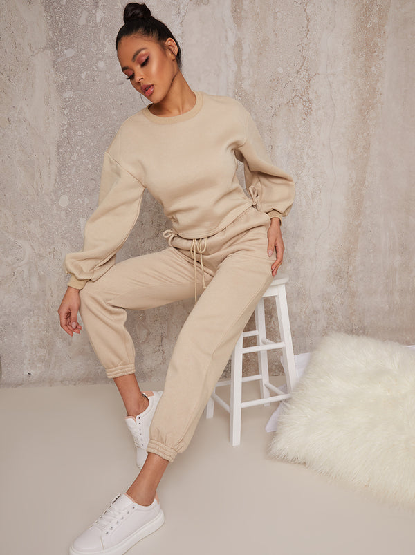 Ruched Detail Sweatshirt & Jogger Loungewear Set in Biege