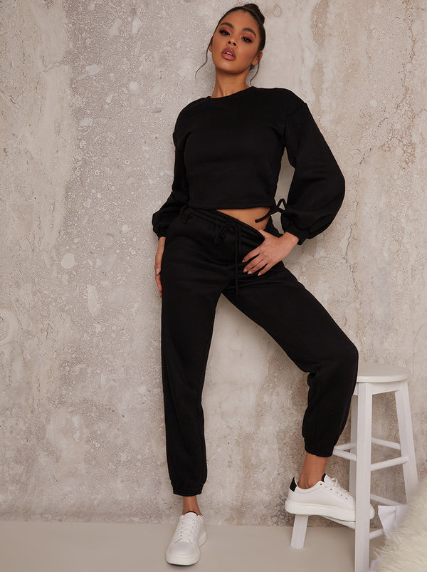 Ruched Detail Sweatshirt & Jogger Loungewear Set in Black
