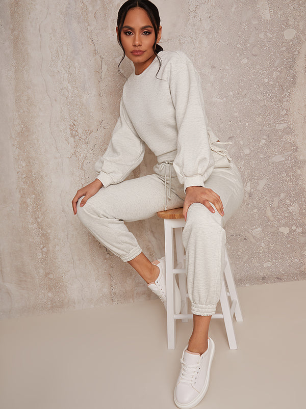 Ruched Detail Sweatshirt & Jogger Loungewear Set in Grey