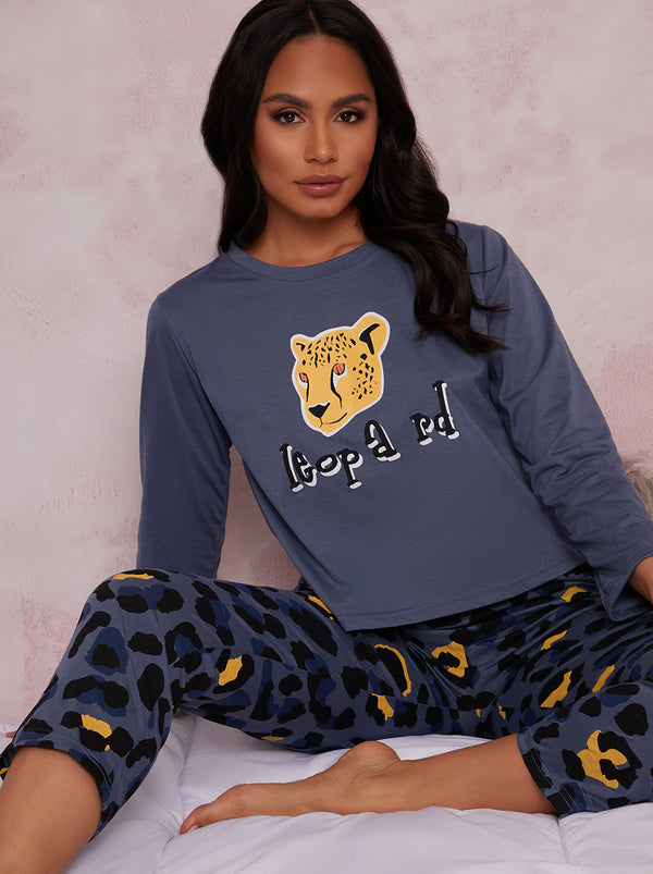 Long Sleeve Jersey Pyjamas in Blue Leopard Print