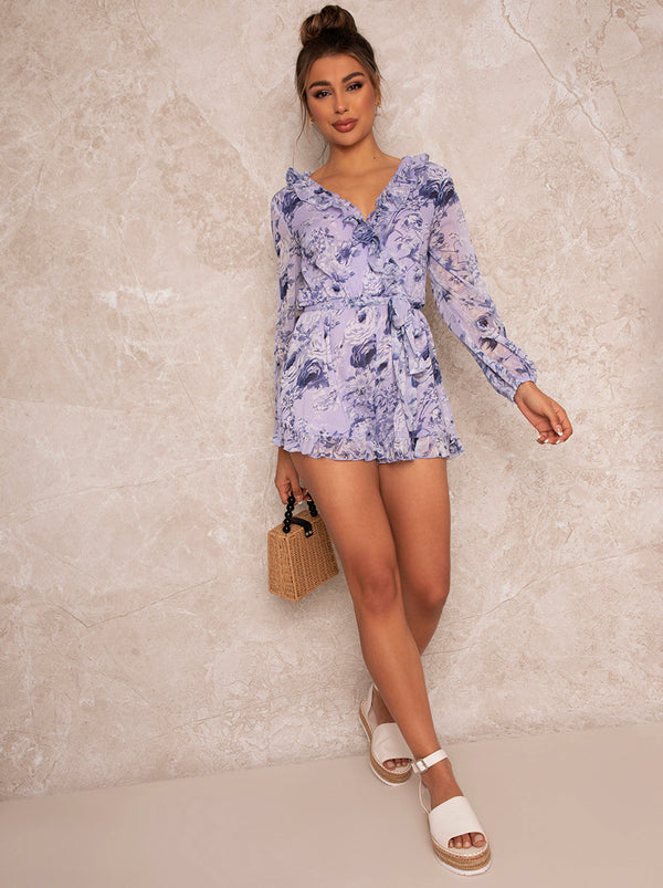 Ruffle Trim Floral Print Playsuit in Blue