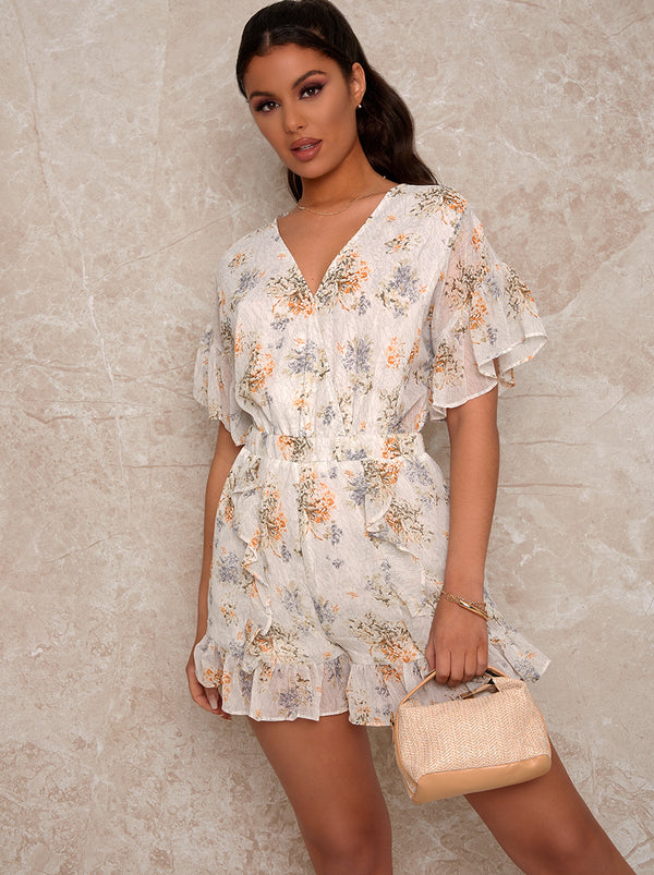 Ruffle Trim Floral Playsuit in White