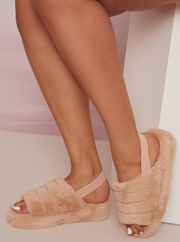 Faux Fur Slingback Slider Slippers in Beige