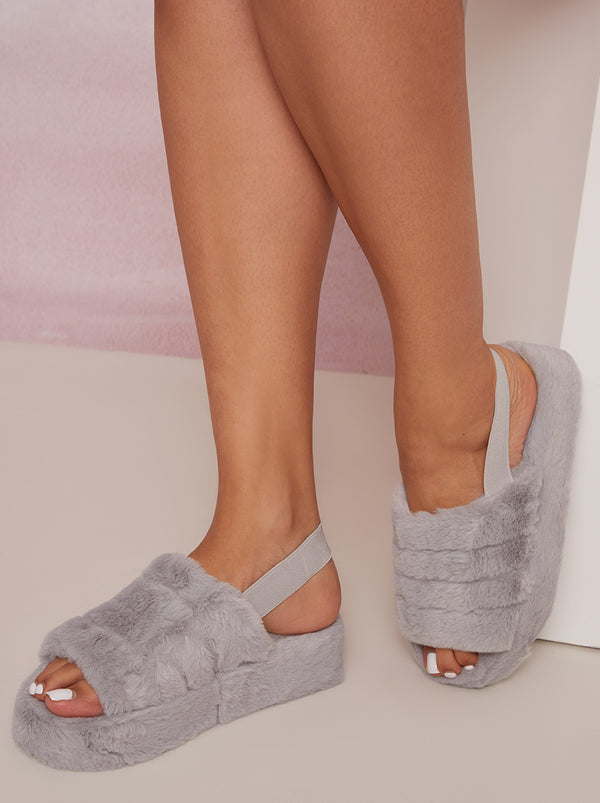 Faux Fur Slingback Slider Slipper in Grey