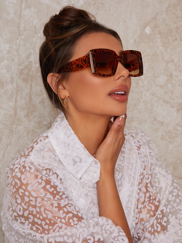 Oversized Tortoiseshell Sunglasses in Brown