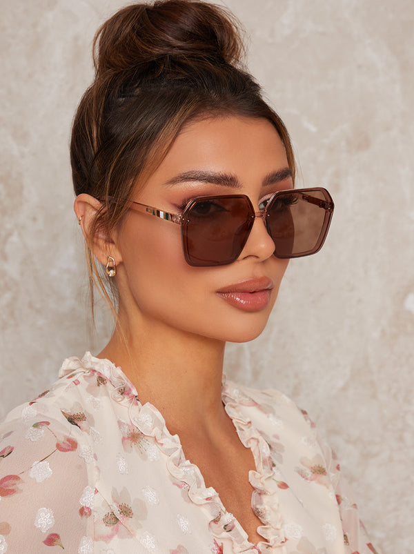 Hexagonal Framed Sunglasses in Brown