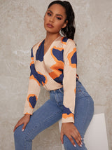 Long Sleeve Graphic Print Bodysuit in Multicolour