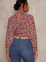 High Neck Floral Print Top in Pink