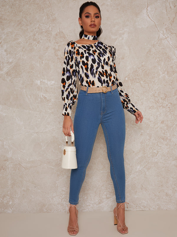 Slash Neck Long Sleeve Leopard Print Top in Cream