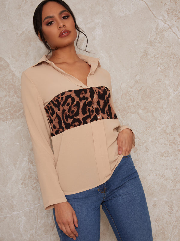 Long Sleeve Animal Print Shirt in Beige