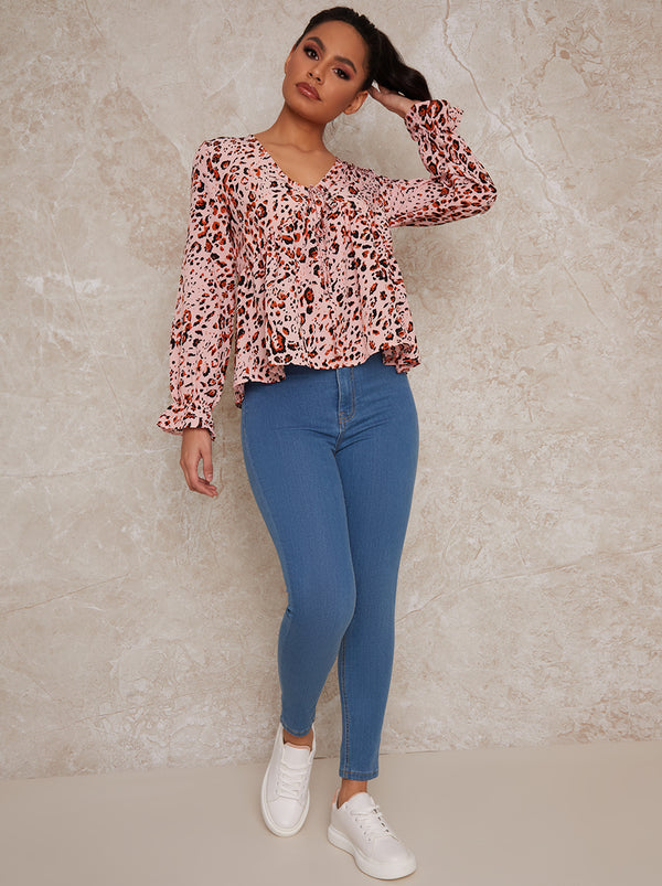 V Neck Animal Print Top in Pink