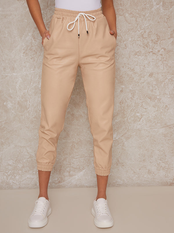 Pleather Drawstring Joggers with Cuffs in Beige