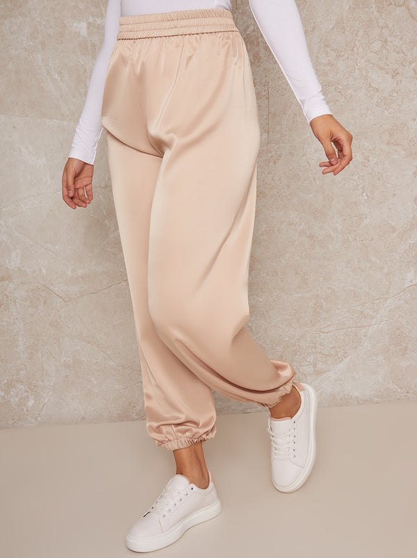 Satin Elasticated Waist Cargo Trousers in Nude
