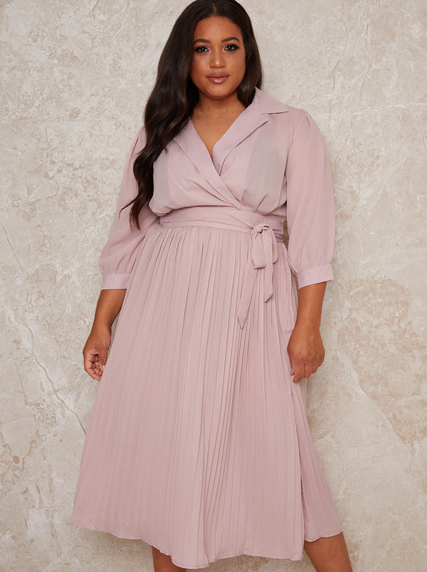 Plus Size Wrap Style Pleat Midi Dress in Pink