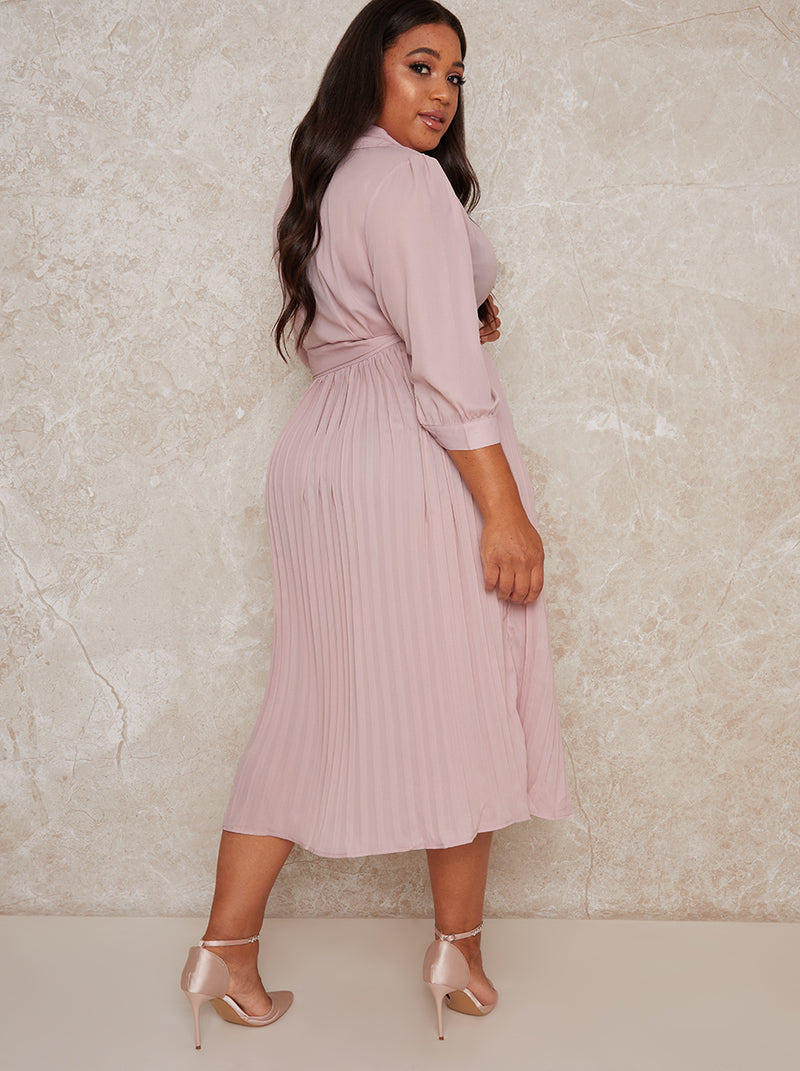 Plus Size Wrap Style Pleat Midi Dress in Brown