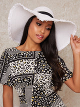 Straw Wide Brimmed Sun Hat in White
