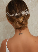 Floral Faux Diamante Headpiece in Silver Tone