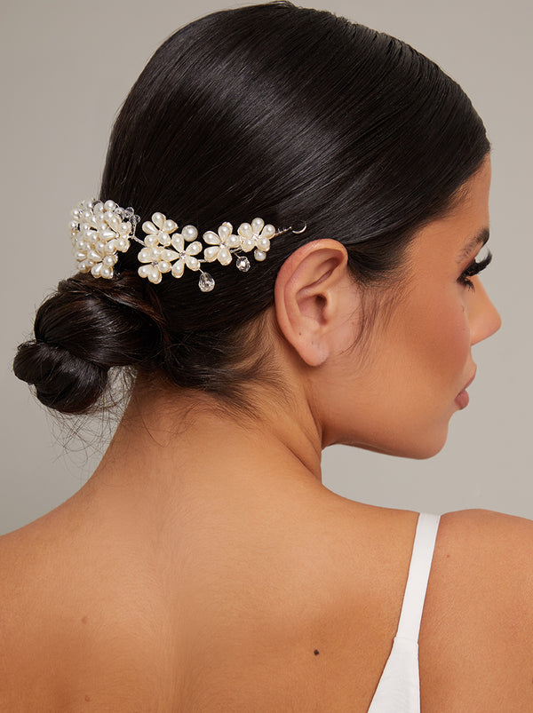 Floral Faux Pearl Bridal Headpiece in Ivory