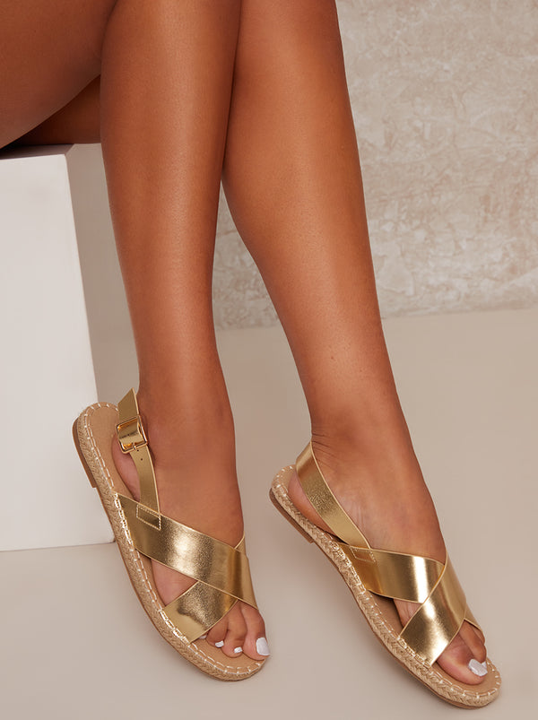 Cross Strap Espadrille Sandals in Gold