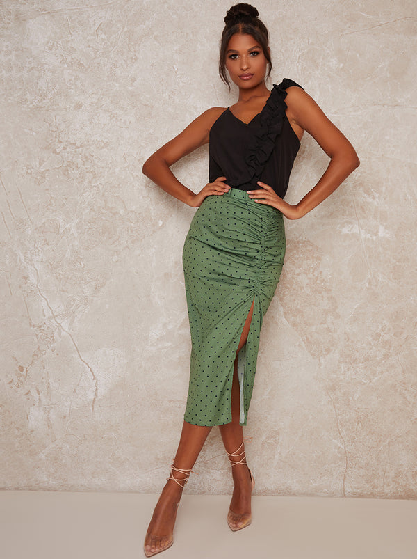 Ruched Spot Split Skirt in Green