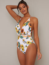 Plunge Neck Strappy Sunflower Swimsuit in White