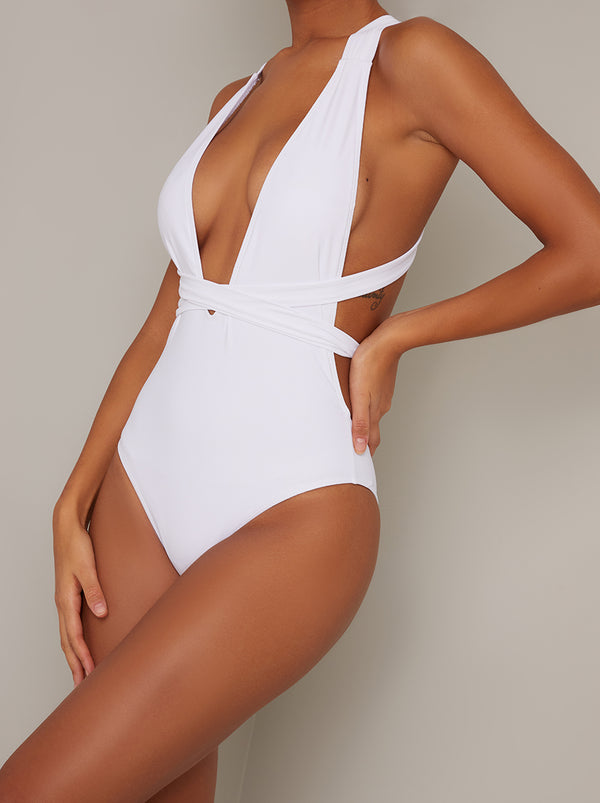 Plunge Cut Out High Leg Swimsuit in White
