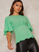 Angel Sleeve Spot Print Top in Green
