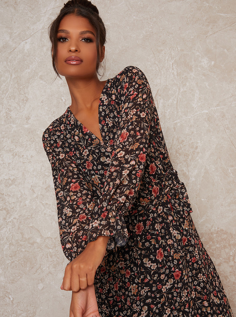 Long Sleeve Blouson Floral Ankle Maxi Lenth in Black