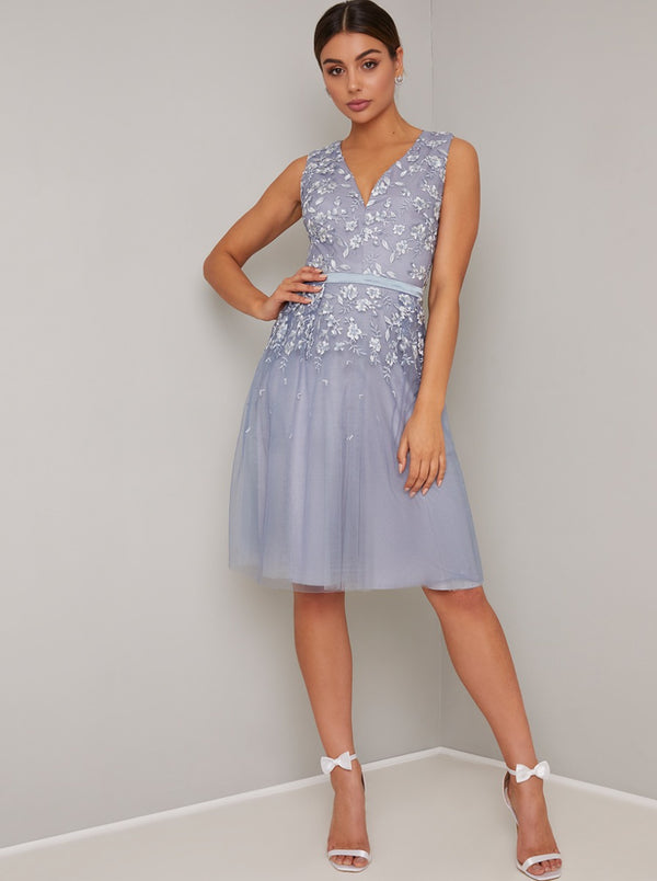 Embroidered Mesh Overlay Midi Dress in Blue