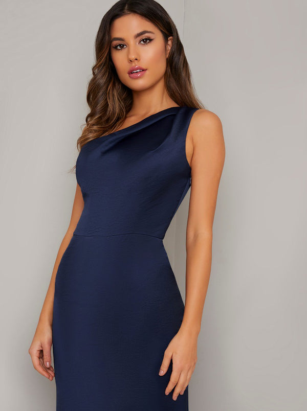 One Shoulder Fitted Silky Maxi Dress in Navy Blue