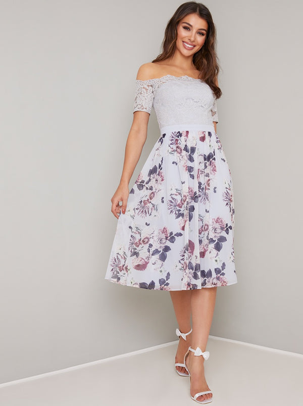 Lace Bardot Floral Print Midi Dress in Purple