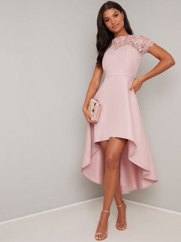 Lace Bodice Detail Dip Hem Dress in Pink