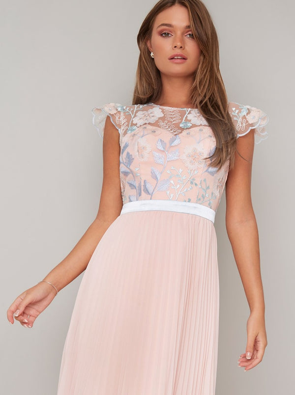 Lace Open Back Pleat Midi Dress In Nude