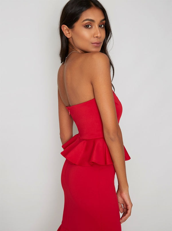 Peplum Bodycon Midi Dress in Red