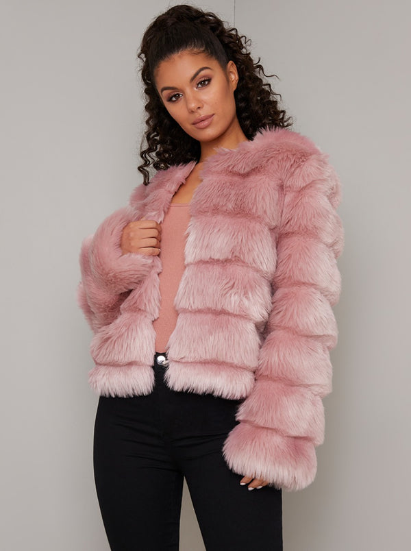 Faux Fur Cropped Coat in Pink