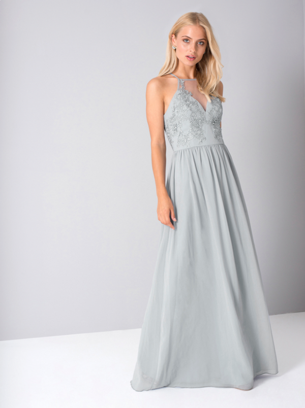 Halterstyle Sheer Lace Maxi Dress in Blue