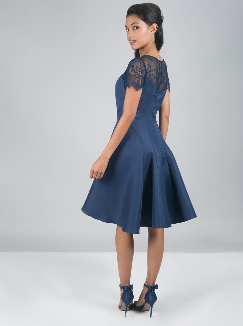 Short Sleeved Sheer Lace Midi Dress In Blue
