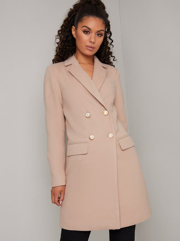 Pearl Button Double Breasted Tailored Coat in Nude