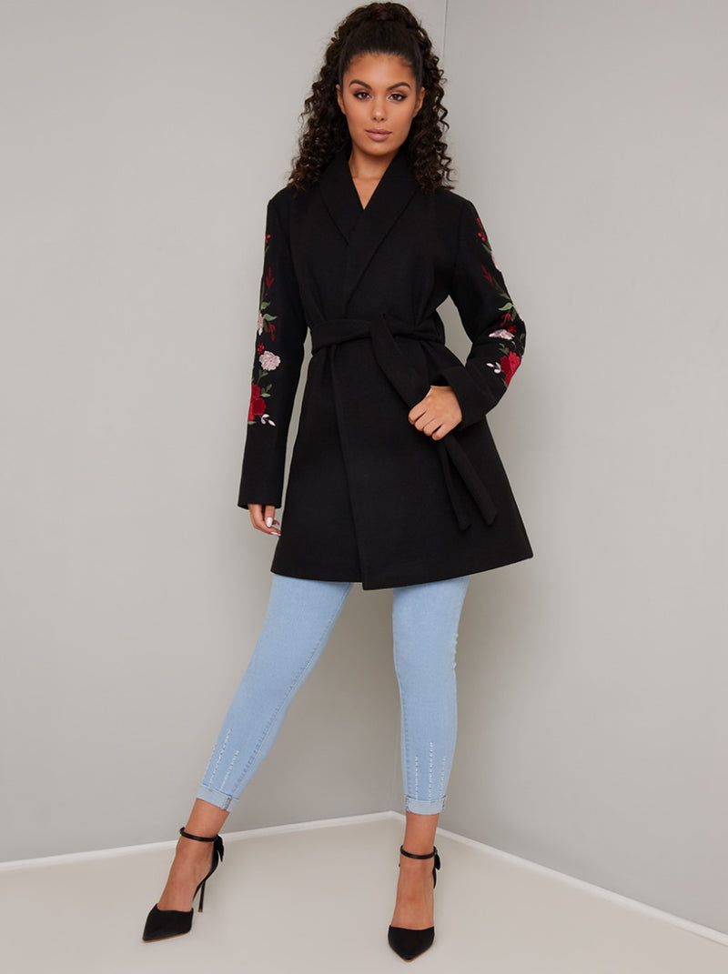 Wrap Style Embroidered 3/4 Length Coat Jacket in Black