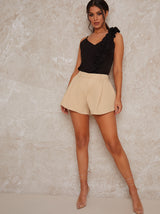 High Rise Pleat Detail Shorts in Cream