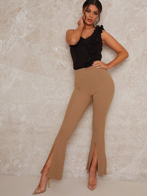 High Rise Split Hem Trousers in Beige