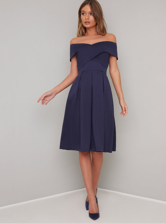 Bardot Neckline Skater Dress in Blue