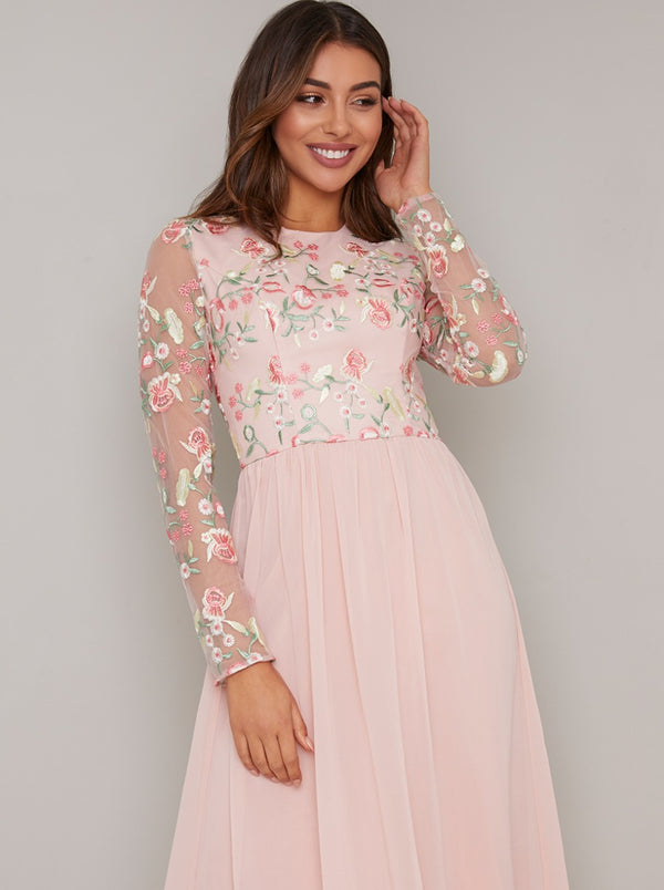 Long Sleeved Floral Lace Midi Dress in Pink