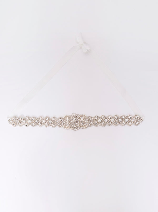 Bridal Diamante Belt with Ribbon Fastening in White
