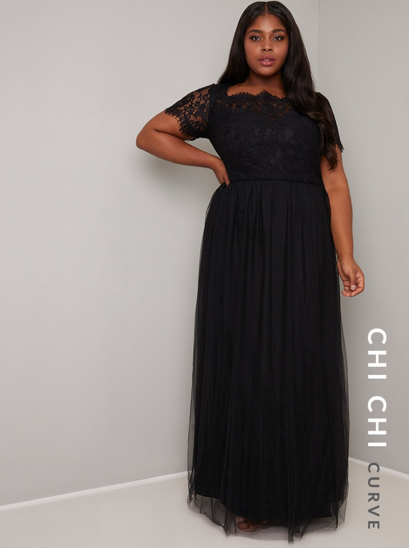Plus Size Short Sleeved Lace Bodice Maxi Dress in Black