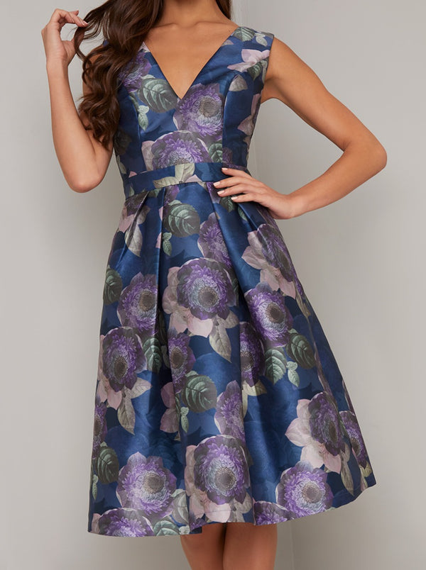 Floral Print Box Pleat Midi Dress in Blue