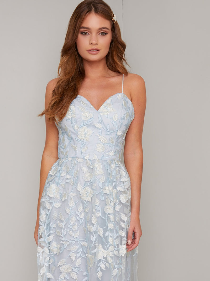 Lace Overlay Cami Strap Maxi Dress In Blue