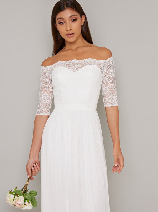 Bridal Lace Bardot Bodice Wedding Dress in White