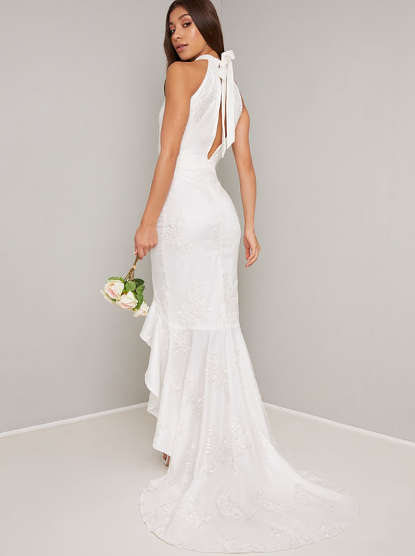 Bridal Embroidered Fishtail Wedding Dress in White